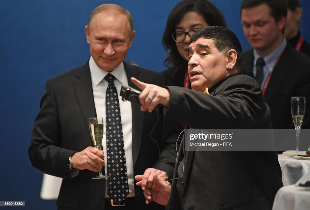 Vladimir Putin, President of Russia speaks to Maradonna prior to the Final Draw for the 2018 FIFA World Cup Russia at the State Kremlin Palace on December 1, 2017 in Moscow, Russia.