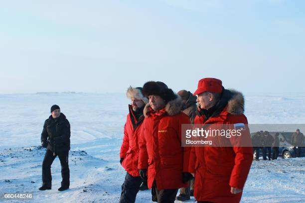 Vladimir Putin Russia's president right Dmitry Medvedev Russia's prime minister center and Sergei Donskoi Russia's natural resources minister visit...