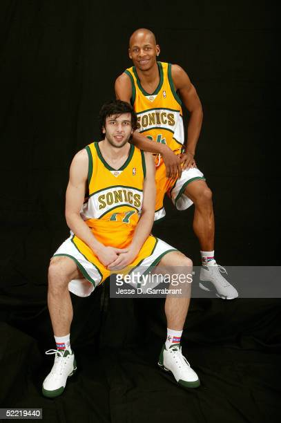 Vladimir Radmanovic and Ray Allen of the Seattle SuperSonics poses for a portrait during the 2005 NBA AllStar Saturday Night events on February 19...