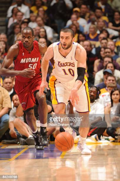 Vladimir Radmanovic of the Los Angeles Lakers brings the ball up the court against the Miami Heat at Staples Center on January 11 2009 in Los Angeles...