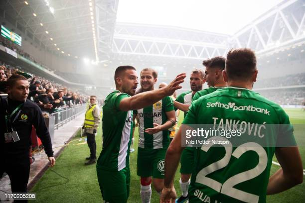 Vladimir Rodic of Hammarby IF celebrates after scoring to 2-0 during the Allsvenskan match between Hammarby IF and AIK at Tele2 Arena on September...