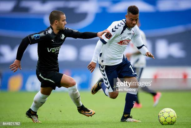 Vladimir Rodic of Randers FC and Tobias Sana of AGF Aarhus compete for the ball during the Danish Alka Superliga match between AGF Aarhus and Randers...