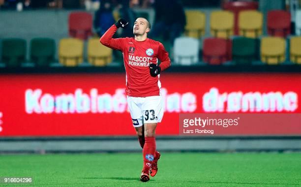 Vladimir Rodic of Silkeborg IF celebrates after scoring their third goal during the Danish Alka Superliga match between Silkeborg IF and AaB Aalborg...