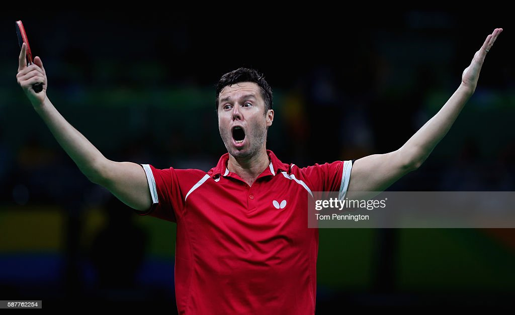 Vladimir Samsonov of Belarus celebrates after beating Dimitrij Ovtcharov of Germany during the Men's Singles Quarterfinal 3 Table Tennis on Day 4 of the Rio 2016 Olympic Games at the Riocentro Pavilion 3 on August 9, 2016 in Rio de Janeiro, Brazil.
