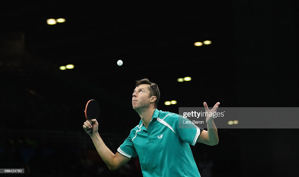 Vladimir Samsonov of Belarus competes during the Mens Table Tennis Singles Semifinal match between Vladimir Samsonov of Belarus and Zhang Jik of China at Rio Centro on August 11, 2016 in Rio de Janeiro, Brazil.