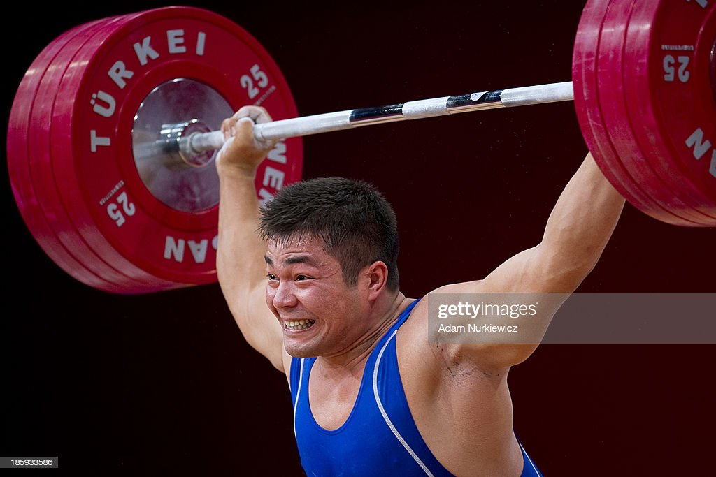 Vladimir Sedov from Kazakhstan lifts in the Snatch competition men's 94 kg Group A during the IWF World Weightlifting Championships Wroclaw 2013 at Centennial Hall in Wroclaw on October 26, 2013