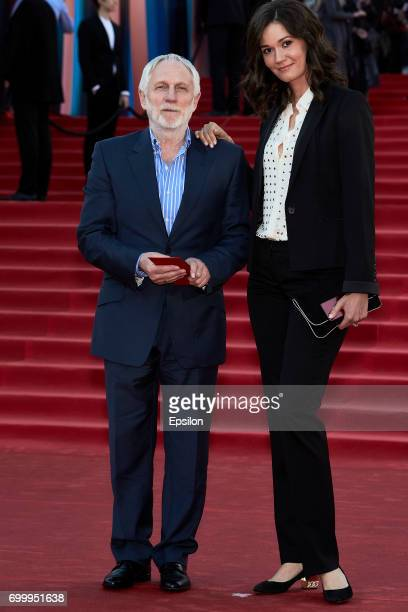 Vladimir Semago and actress Natalya Steshenko attend opening of the 39th Moscow International Film Festival outside the Karo 11 Oktyabr Cinema on...