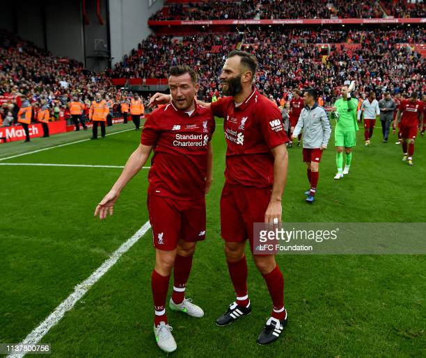 Vladimir Smicer and Patrik Berger of Liverpool FC Legends showing his appreciation to the fans at the end of the friendly match between Liverpool FC...