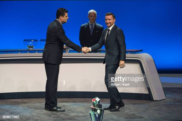 Vladimir Smicer Czech Republic former professional football player enters the stage during the UEFA Nations League Draw 2018 at Swiss Tech Convention...