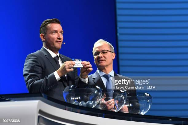 Vladimir Smicer draws out the name of the Republic of Ireland beside UEFA Deputy General Secretary Giorgio Marchetti during of the UEFA Nations...