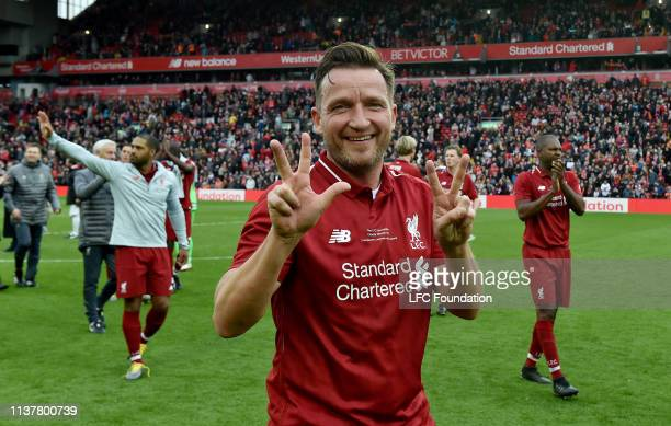 Vladimir Smicer of Liverpool FC Legends showing his appreciation to the fans at the end of the friendly match between Liverpool FC Legends and AC...