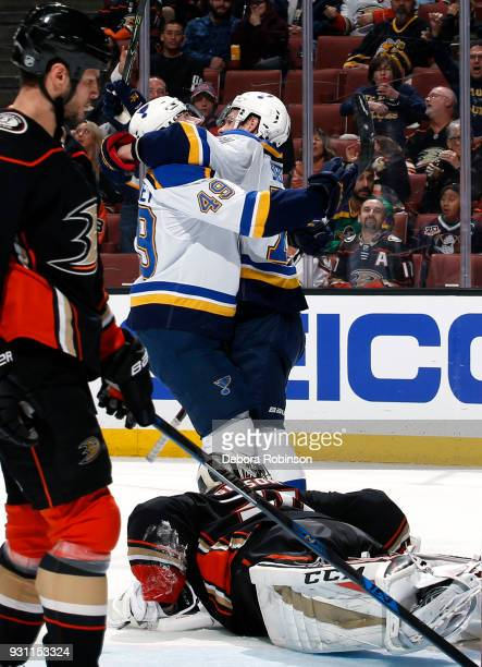 Vladimir Sobotka and Ivan Barbashev of the St Louis Blues celebrate Sobotka's second period goal against Kevin Bieksa and John Gibson of the Anaheim...