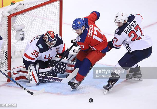 Vladimir Sobotka of Team Czech Republic goes to the net as Cory Schneider of Team USA guards the net and Ryan McDonagh defends during the World Cup...