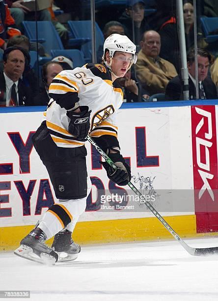 Vladimir Sobotka of the Boston Bruins skates against the New York Islanders on December 3 2007 at the Nassau Coliseum in Uniondale New York The...