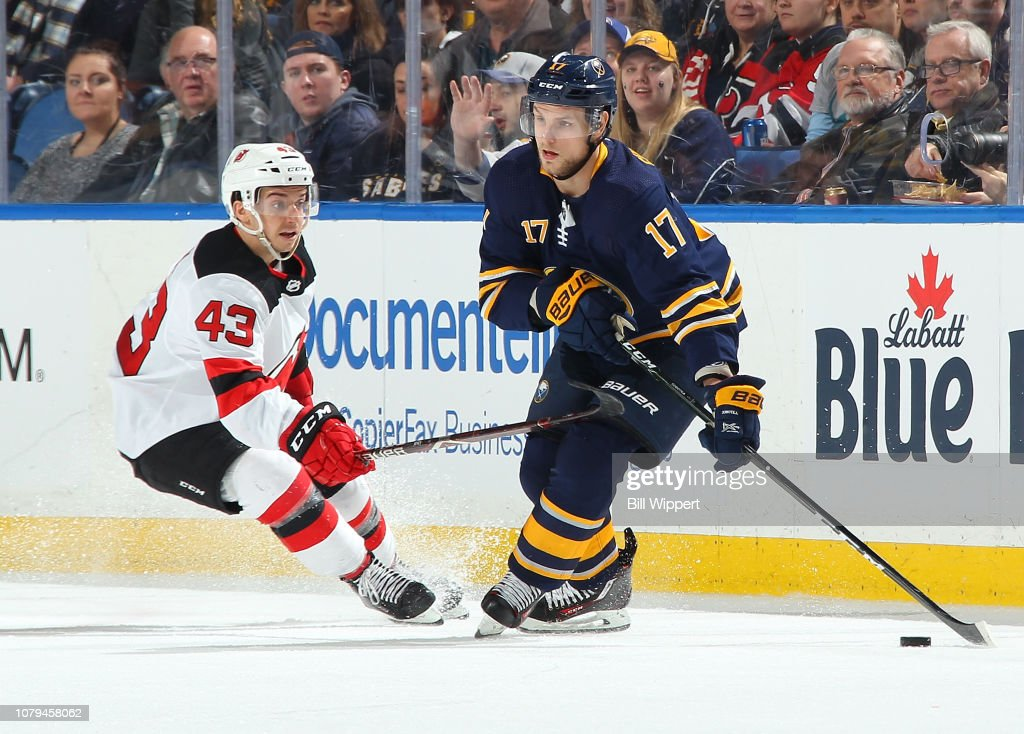 Vladimir Sobotka of the Buffalo Sabres controls the puck against
