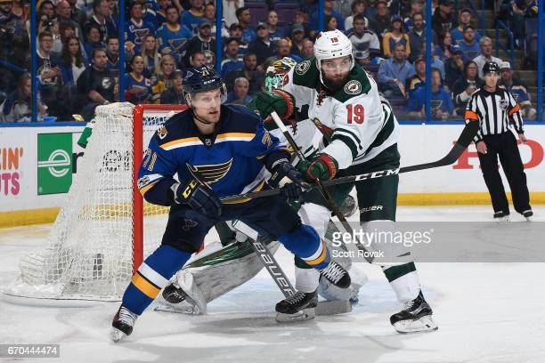 Vladimir Sobotka of the St Louis Blues and Martin Hanzal of the Minnesota Wild battle for position in Game Four of the Western Conference First Round...