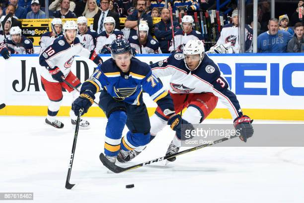 Vladimir Sobotka of the St Louis Blues attempts to control the puck as Seth Jones of the Columbus Blue Jackets pressures at Scottrade Center on...