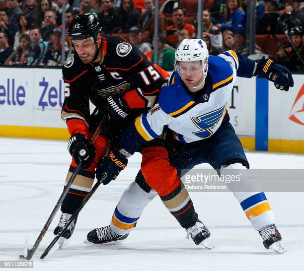 Vladimir Sobotka of the St Louis Blues battles for the puck against Ryan Getzlaf of the Anaheim Ducks during the game on March 12 2018 at Honda...