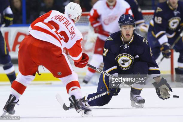 Vladimir Sobotka of the St Louis Blues blocks a shot against the Detroit Red Wings at the Scottrade Center on December 23 2010 in St Louis Missouri...