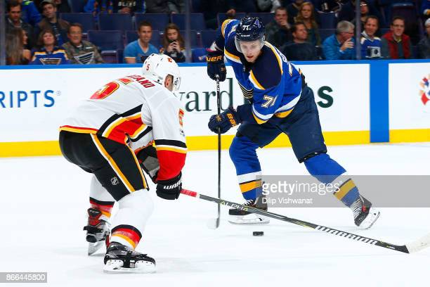 Vladimir Sobotka of the St Louis Blues controls the puck against the Calgary Flames at Scottrade Center on October 25 2017 in St Louis Missouri