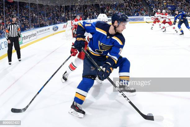Vladimir Sobotka of the St Louis Blues controls the puck against the Carolina Hurricanes at Scottrade Center on December 30 2017 in St Louis Missouri