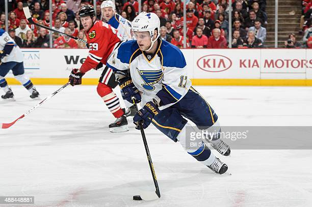 Vladimir Sobotka of the St Louis Blues grabs the puck in Game Six of the First Round of the 2014 Stanley Cup Playoffs against the Chicago Blackhawks...