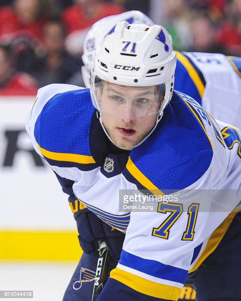 Vladimir Sobotka of the St Louis Blues in action against the Calgary Flames during an NHL game at Scotiabank Saddledome on November 13 2017 in...
