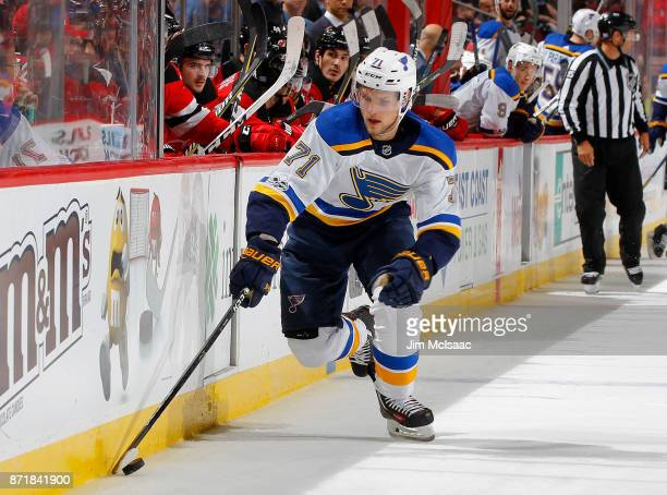 Vladimir Sobotka of the St Louis Blues in action against the New Jersey Devils on November 7 2017 at Prudential Center in Newark New Jersey The Blues...