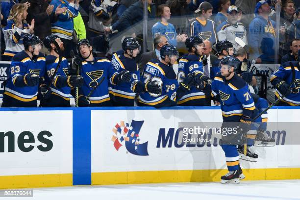 Vladimir Sobotka of the St Louis Blues is congratulated after scoring a goal against the Los Angeles Kings at Scottrade Center on October 30 2017 in...