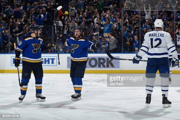 Vladimir Sobotka of the St Louis Blues is congratulated by Alexander Steen of the St Louis Blues after scoring a goal against the Toronto Maple Leafs...