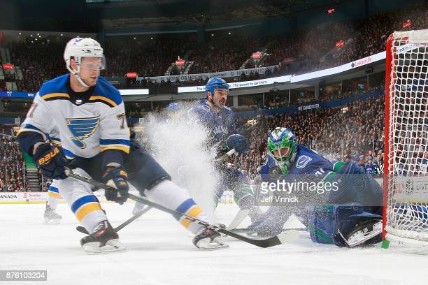 Vladimir Sobotka of the St Louis Blues looks on as Anders Nilsson of the Vancouver Canucks blocks a shot during their NHL game at Rogers Arena...