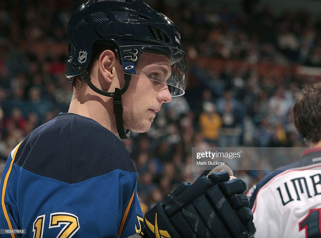 Vladimir Sobotka #17 of the St. Louis Blues sets for a face off against the Columbus Blue Jackets in an NHL game on February 23, 2013 at Scottrade Center in St. Louis, Missouri.