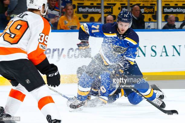 Vladimir Sobotka of the St Louis Blues shoots the puck against the Philadelphia Flyers at the Scottrade Center on November 2 2017 in St Louis Missouri