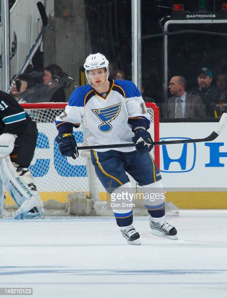 Vladimir Sobotka of the St Louis Blues skates after the puck against the San Jose Sharks in Game Three of the Western Conference Quarterfinals during...