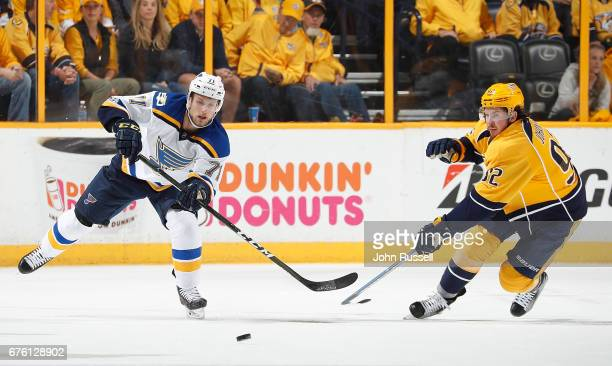 Vladimir Sobotka of the St Louis Blues skates against Ryan Johansen of the Nashville Predators in Game Three of the Western Conference Second Round...
