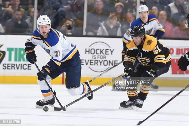 Vladimir Sobotka of the St Louis Blues skates against Ryan Spooner of the Boston Bruins at the TD Garden on February 1 2018 in Boston Massachusetts