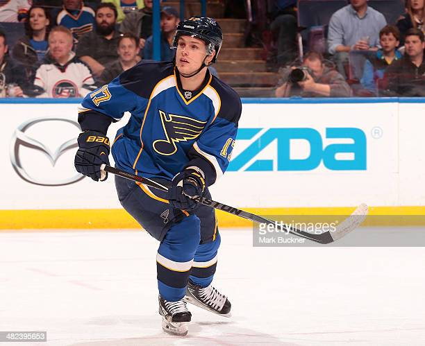Vladimir Sobotka of the St Louis Blues skates against the Philadelphia Flyers during an NHL game on April 1 2014 at Scottrade Center in St Louis...