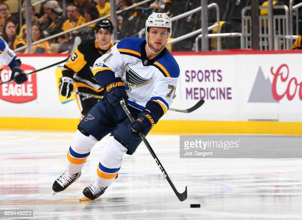 Vladimir Sobotka of the St Louis Blues skates against the Pittsburgh Penguins at PPG Paints Arena on October 4 2017 in Pittsburgh Pennsylvania
