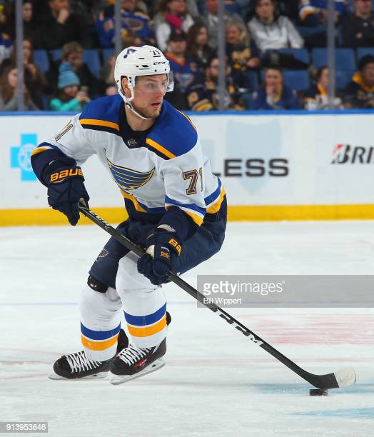 Vladimir Sobotka of the St Louis Blues skates up ice against the Buffalo Sabres during the second period of an NHL game on February 3 2018 at KeyBank...