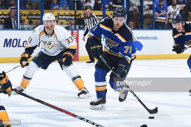Vladimir Sobotka of the St Louis Blues skates with the puck against the Nashville Predators in Game One of the Western Conference Second Round during...