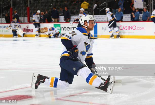 Vladimir Sobotka of the St Louis Blues warms up before the game against the New Jersey Devils at Prudential Center on November 7 2017 in Newark New...
