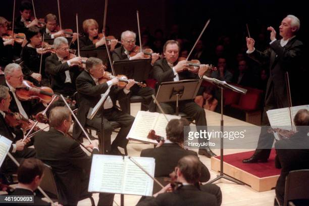 Vladimir Spivakov leading the Russian National Orchestra in Tchaikovsky's 'Symphony No 5' at Carnegie Hall on Thursday night February 15 2001