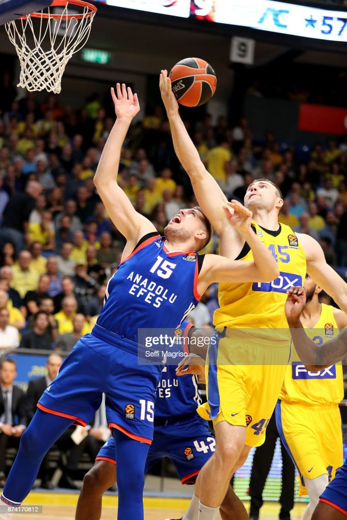 Vladimir Stimac, #15 of Anadolu Efes Istanbul competes withArtsiom Parakhouski, #45 of Maccabi Fox Tel Aviv in action during the 2017/2018 Turkish Airlines EuroLeague Regular Season Round 7 game between Maccabi Fox Tel Aviv and Anadolu Efes Istanbul at Menora Mivtachim Arena on November 14, 2017 in Tel Aviv, Israel.