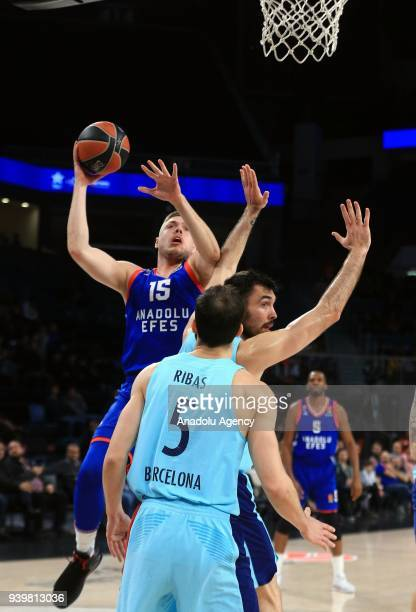 Vladimir Stimac of Anadolu Efes in action against Pau Ribas of Barcelona Lassa during the Turkish Airlines Euroleague week 29 basketball match...