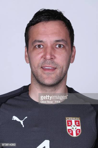 Vladimir Stojkovic of Serbia poses for a portrait during the official FIFA World Cup 2018 portrait session at the Team Hotel on June 12 2018 in...