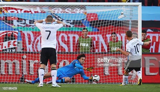 Vladimir Stojkovic of Serbia saves a penalty from Lukas Podolski during the 2010 FIFA World Cup South Africa Group D match between Germany and Serbia...