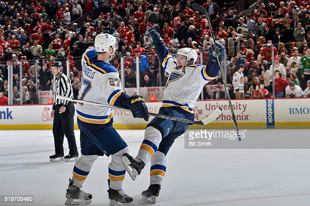 Vladimir Tarasenko and Alex Pietrangelo of the St Louis Blues celebrate after Tarasenko scored the game winning goal in overtime against the Chicago...
