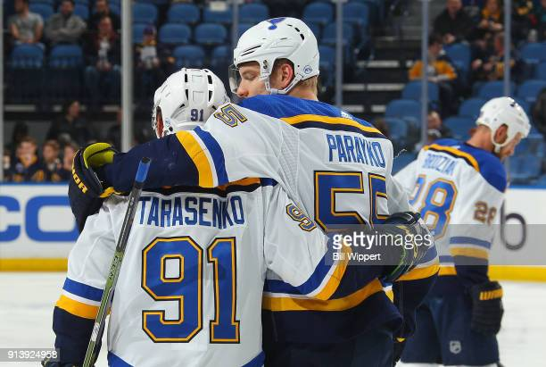 Vladimir Tarasenko and Colton Parayko of the St Louis Blues warm up prior to an NHL game against the Buffalo Sabres on February 3 2018 at KeyBank...