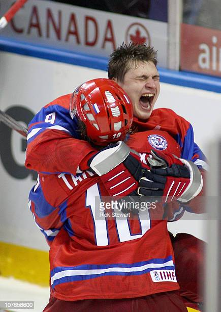 Vladimir Tarasenko and Dmitri Orlov of Russia celebrate defeating Sweden 43 in a shootout to advance to the finals of the 2011 IIHF World U20...