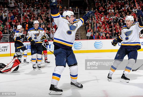 Vladimir Tarasenko and Paul Stastny of the St Louis Blues react after Tarasenko tied the game in the third period of the NHL game against the Chicago...